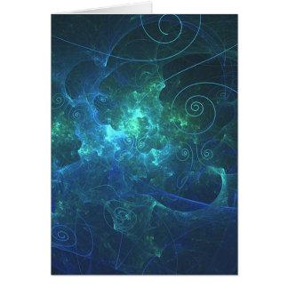 Aqua Flame Fractal Customizable Blank Card