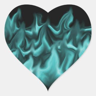 Aqua Flames Heart Sticker