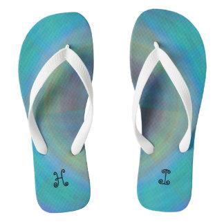 aqua flip flops with imprint