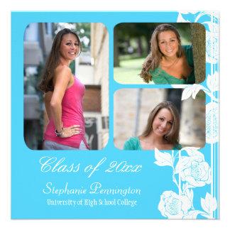 Aqua floral 3 photo graduation party announcement