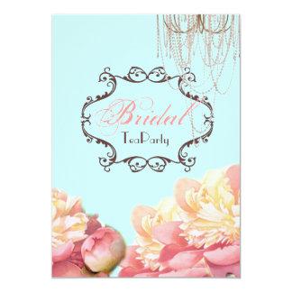 Aqua Floral Bridal Shower Tea Party Invitation