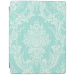 Aqua floral damask iPad cover