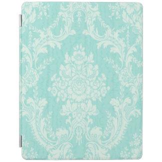 Aqua floral damask iPad cover