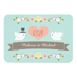 Aqua Floral Dove Wedding RSVP Response Cards