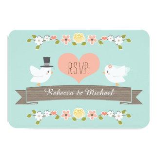 Aqua Floral Dove Wedding RSVP Response Cards