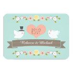 "Aqua Floral Dove Wedding RSVP Response Cards 3.5"" X 5"" Invitation Card"