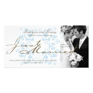 Aqua Floral Flourish Photo Wedding Announcement Photo Card