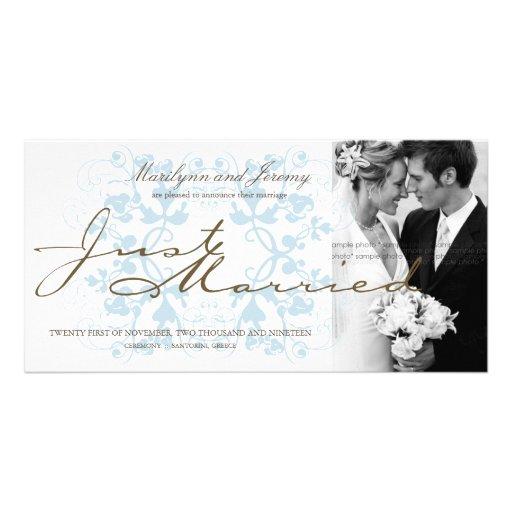 Aqua Floral Flourish Photo Wedding Announcement Photo Cards