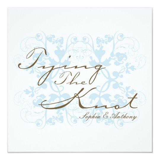 Aqua Floral Flourish Tying The Knot Wedding Invite