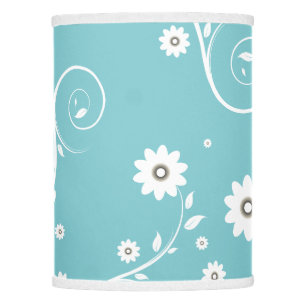 Aqua lamp shades zazzle aqua floral lamp shade aloadofball Choice Image