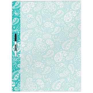 Aqua Floral Paisely Pattern Dry Erase Board