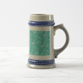 Aqua Floral Paisely Pattern 18 Oz Beer Stein