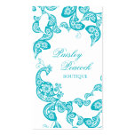 Aqua Floral Paisley Peacock Stylish Chic Elegant Double-Sided Standard Business Cards (Pack Of 100)
