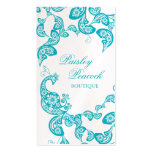 Aqua Floral Paisley Peacock Stylish Chic Elegant Business Card Template