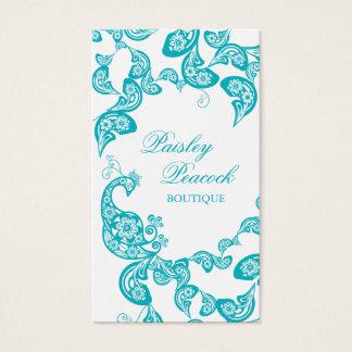 Aqua Floral Paisley Peacock Stylish Chic Elegant Business Card