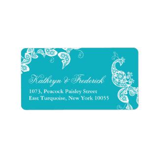 Aqua Floral Paisley Peacock Wedding Address Labels