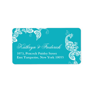 Aqua Floral Paisley Peacock Wedding Address Labels Address Label