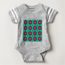 Aqua floral pattern baby bodysuit