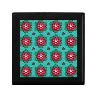Aqua floral pattern jewelry box