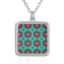 Aqua floral pattern silver plated necklace