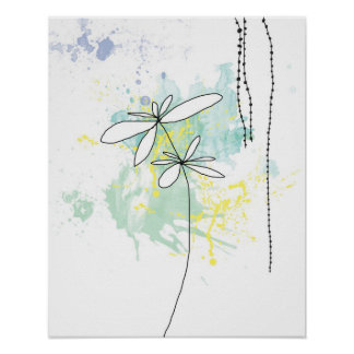 Aqua Floral Splash-Poster