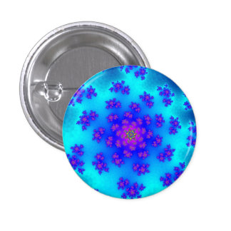Aqua Floral Sprinkles Small Round Button