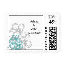 aqua floral wedding save the date postage
