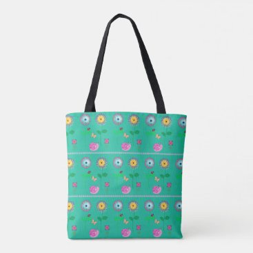 Beach Themed Aqua Floral Whimsical Bag For Beach Or Shopping