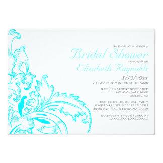 Aqua Flourish Bridal Shower Invitations