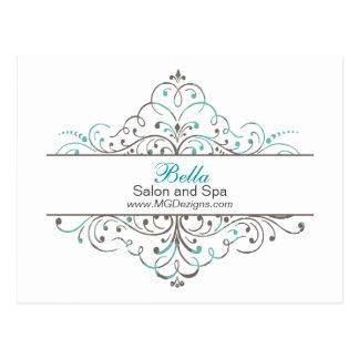 Aqua Flourish Personalized Business Stationery Postcard