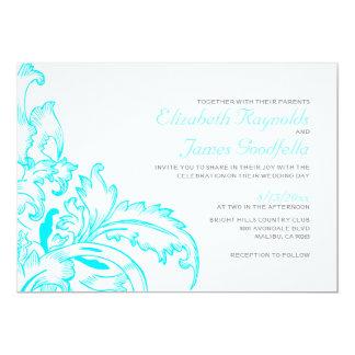 Aqua Flourish Wedding Invitations