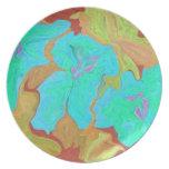 aqua flower abstract art plate
