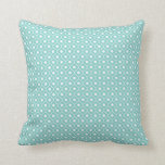 Aqua Flower Argyle Pattern Cotton Pillow 1