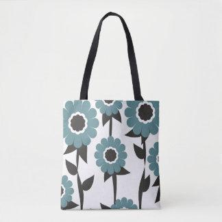 Aqua Flower Garden Pattern Tote Bag