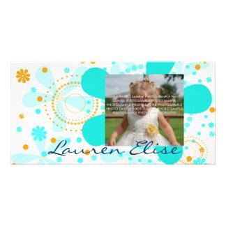AQUA FLOWER RETRO CARD