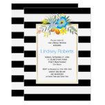 Aqua flowers and stripes wedding bridal shower card