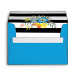 Aqua flowers black white stripes floral wedding envelope