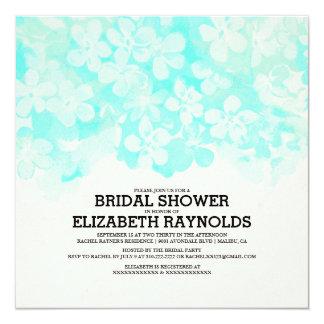 Aqua Flowers Bridal Shower Invitations Announcement