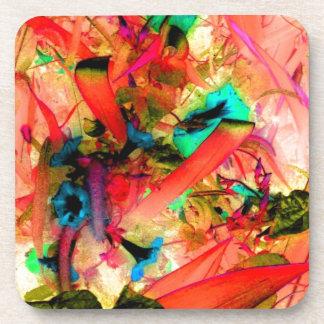 Aqua Flowers Coral Jungle Garden Abstract Art Beverage Coasters