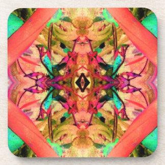 Aqua Flowers Coral Jungle Garden Abstract Art Drink Coaster
