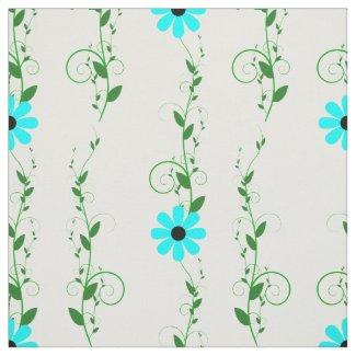 Aqua Flowers Fabric