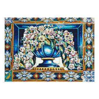 Aqua Flowers in vase, Plaza de Espana, Seville, Sp Invitations