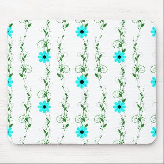 Aqua Flowers Mouse Pad