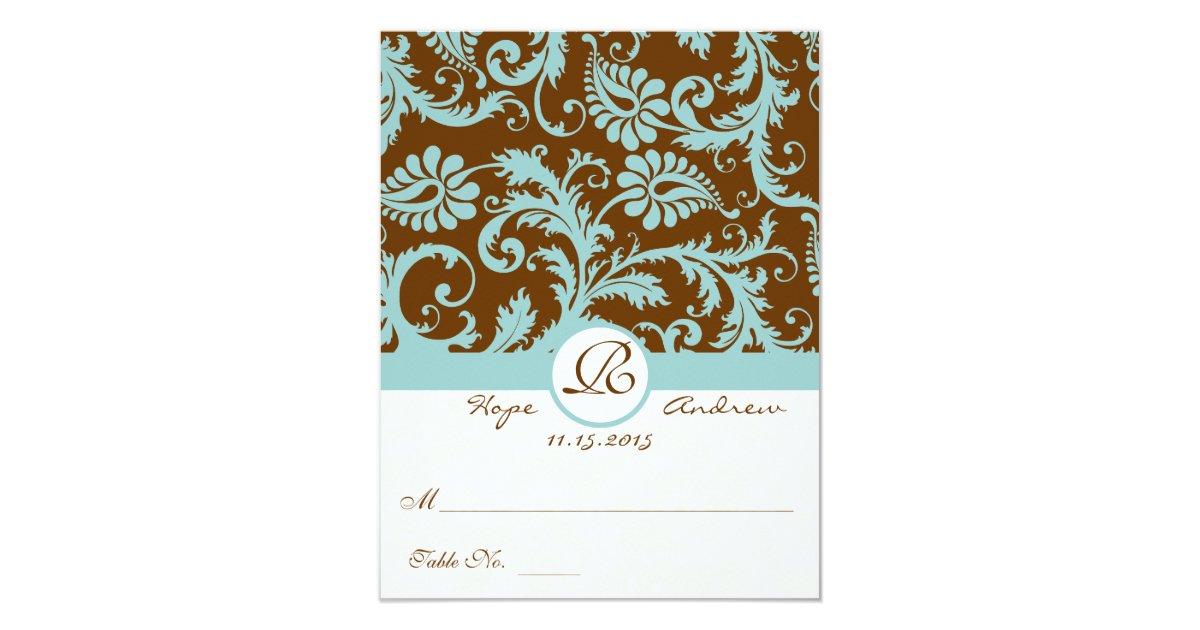 Aqua Folding Tent Wedding Reception Place Cards Zazzle
