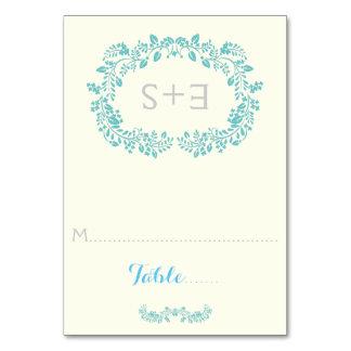 Aqua foliage frame & initials wedding place card