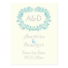 Aqua foliage frame initials wedding Save the Date Postcard
