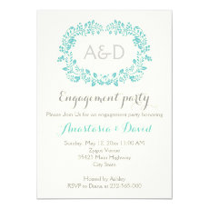 Aqua foliage initials wedding engagement party 5