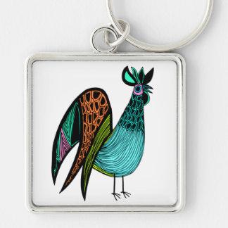 Aqua Folk Art Rooster Keychain