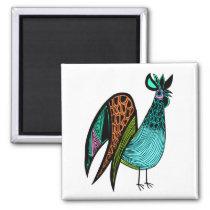 Aqua Folk Art Rooster Magnet