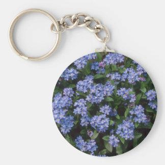 Aqua Forget-Me-Not, (Myosotis Alpestris) flowers Keychain